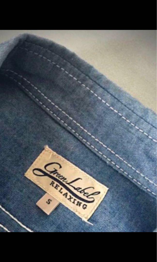 全新日本United Arrows Green Label Relaxing 拼布牛仔恤衫