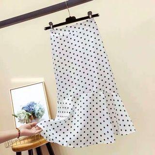 白色點點春夏A字魚尾裙