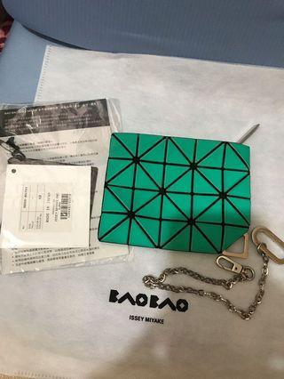 正品ISSEY MIYAKE三宅一生BAO BAO 幾何方格萬用化妝包 鮮綠色零錢包