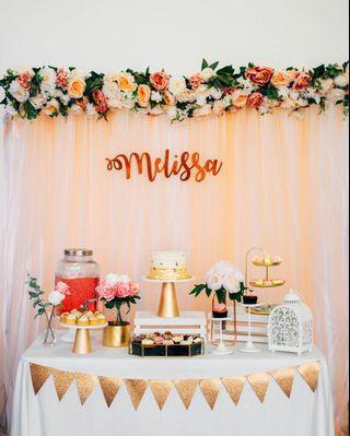 Dessert Table - Rose Gold Garden Theme