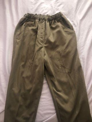 Army green pants with elastic waist band