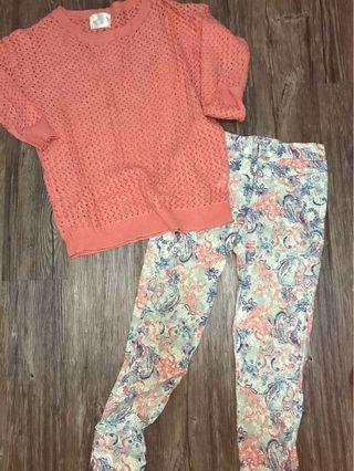 正韓花褲贈乾燥玫瑰色編織衣