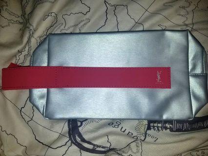 YSL Silver Makeup Bag