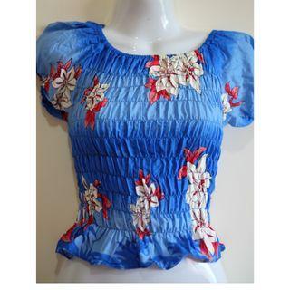 寶藍色泰國花朵上衣