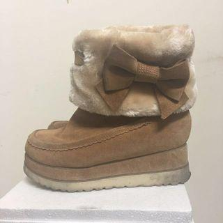 Teenmix 厚底麂皮雪靴(內增高)