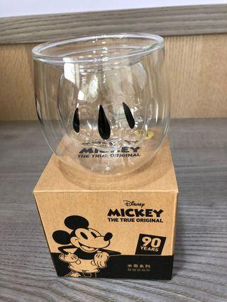90週年米奇系列雙層玻璃杯-手套款(全新)含運