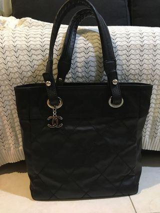 Chanel Biarritz Tote Bag Quilted Coated Canvas Black