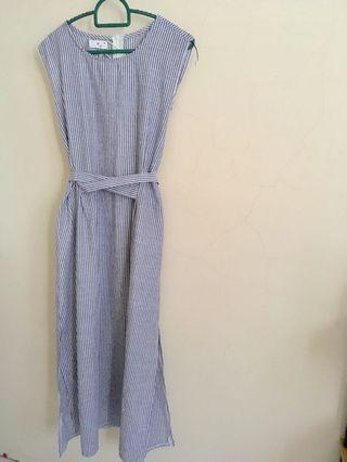 [F.postage] Preloved  striped sleeveless linen midi slit dress