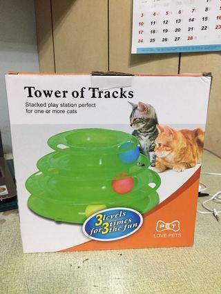 貓咪玩具三層軌道球