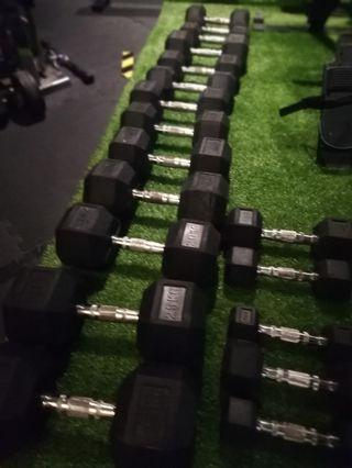 Gym used dumbbell hexagon