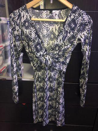 H&M snakeskin print bodycon dress