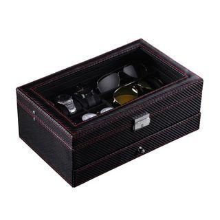 Starzdeals - 2 Tier Full Carbon Fiber Watch + Specs + Jewelry Storage Box