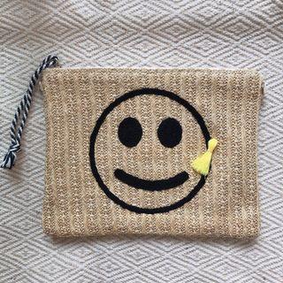 微笑笑臉草編手拿包化妝包