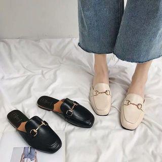 韓版 簡約皮革平底穆勒鞋