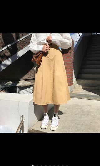 卡其色工裝長裙