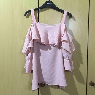 🚚 Playdress pink cold shoulder chiffon blouse in size S