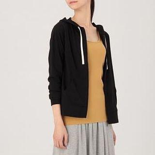 MUJI 無印良品 女裝有機棉連帽外套 黑色 / muji Black cotton zip up hoodie