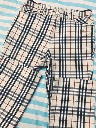 Vintage Thrift Store Tartan Plaid Burberry Pants Trousers Celana Murah Seven & 5 Branded
