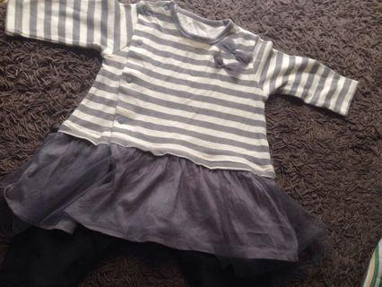 Stripe suit with tutu skirt