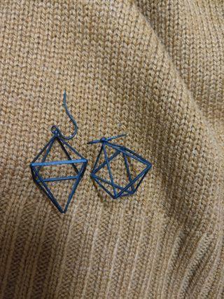 立體菱形耳環