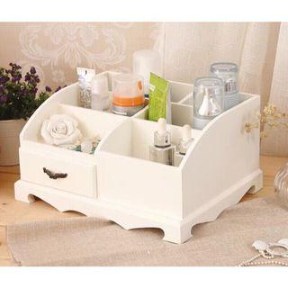現貨》木質化妝品盒 珠寶盒 韓版貴族風 zakka 化妝品收納盒 櫃子香水收納盒 象牙白 化妝盒