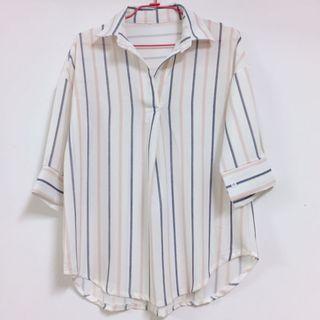 韓貨 粉藍條紋白襯衫 原價$400
