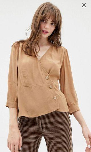 [NEW] Monki Wrap Blouse with Buttons Top in Beige (S)