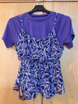 韓系紫色小碎花上衣