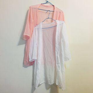 夏天款 防曬雪紡罩衫 粉紅/白 兩色