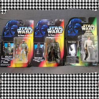 (set of 3) Hasbro Star Wars Boba Fett Han Solo in Carbonite and Darth Vader Power of the Force toy figures (original)