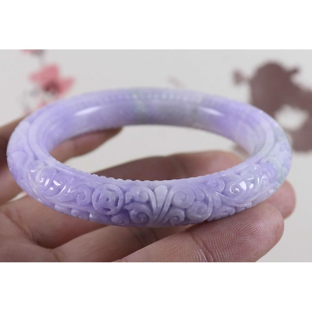 57mm Certified Lavender Natural A jade Jadeite Moire Bangle Bracelet C3561J0