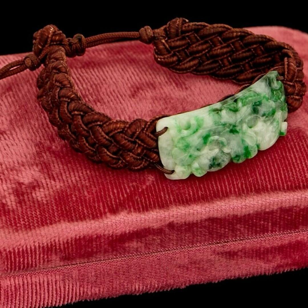 Antique Vintage Art Deco Chinese Carved Green Jadeite Jade Braided Silk Bracelet