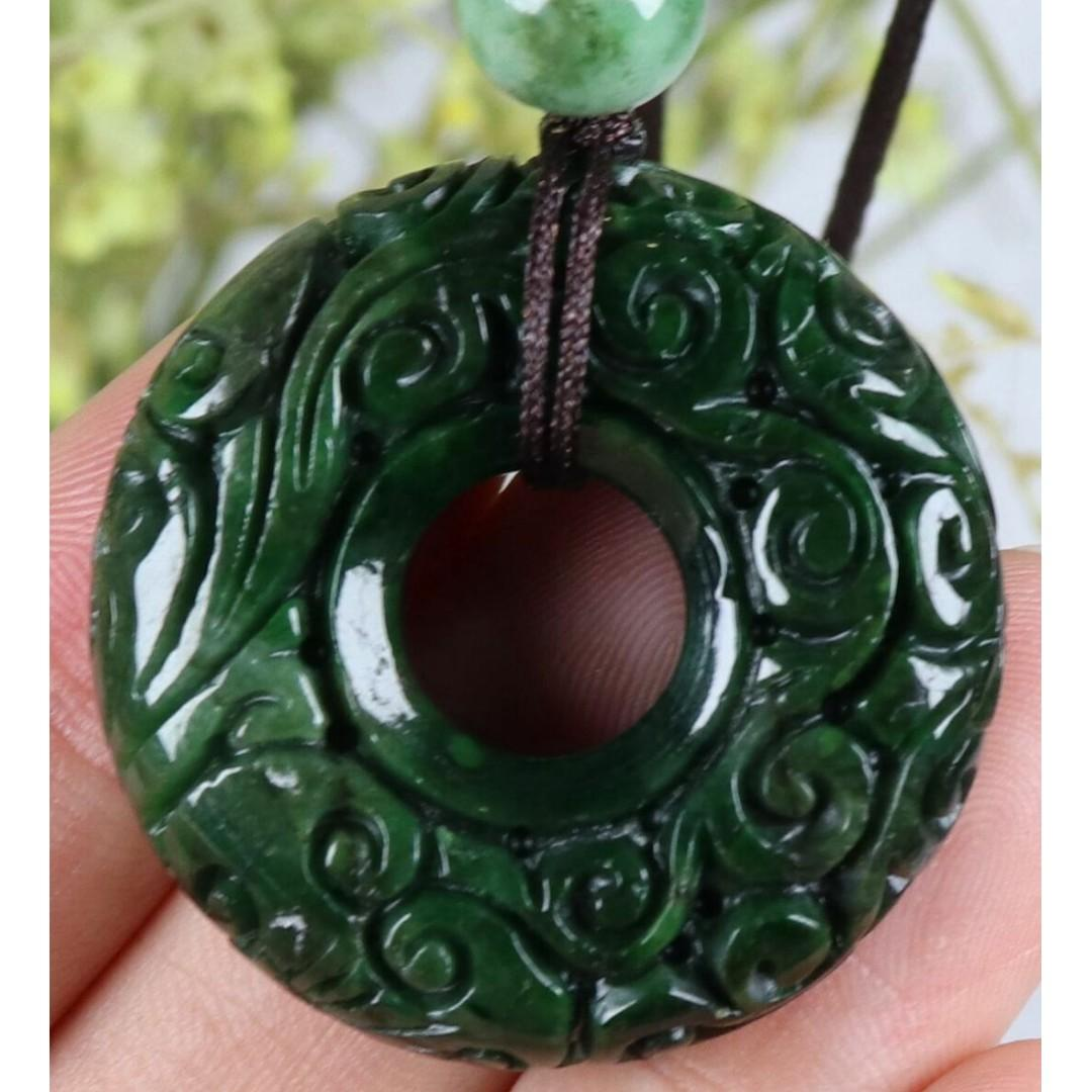 Certified Dark green 100% Natural A Jade jadeite Doughnut Pendant 84406N5