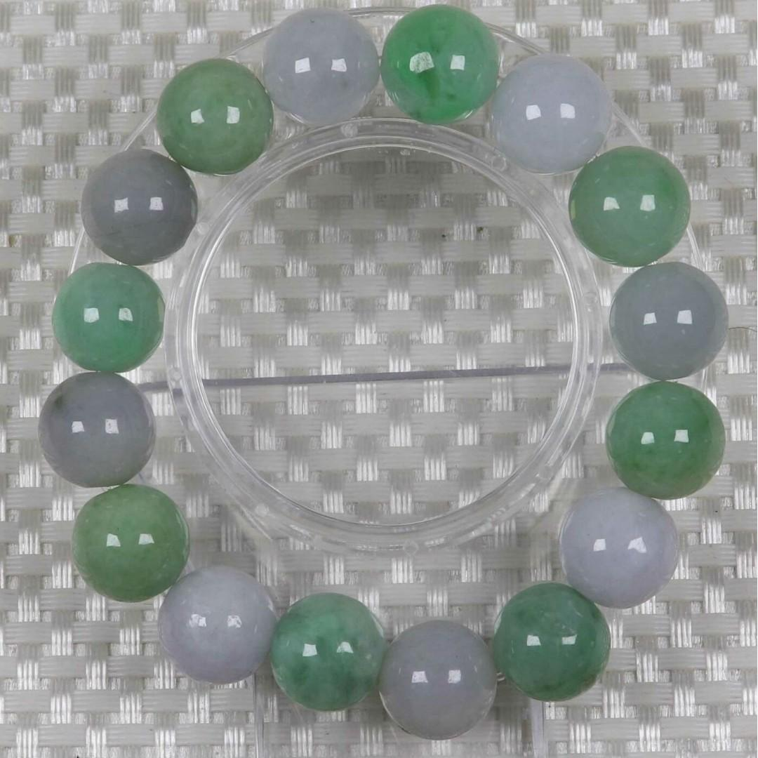 Certified Green 100% Natural A Jade jadeite Φ13.5 mm Bead Bracelet Bangle 82396N
