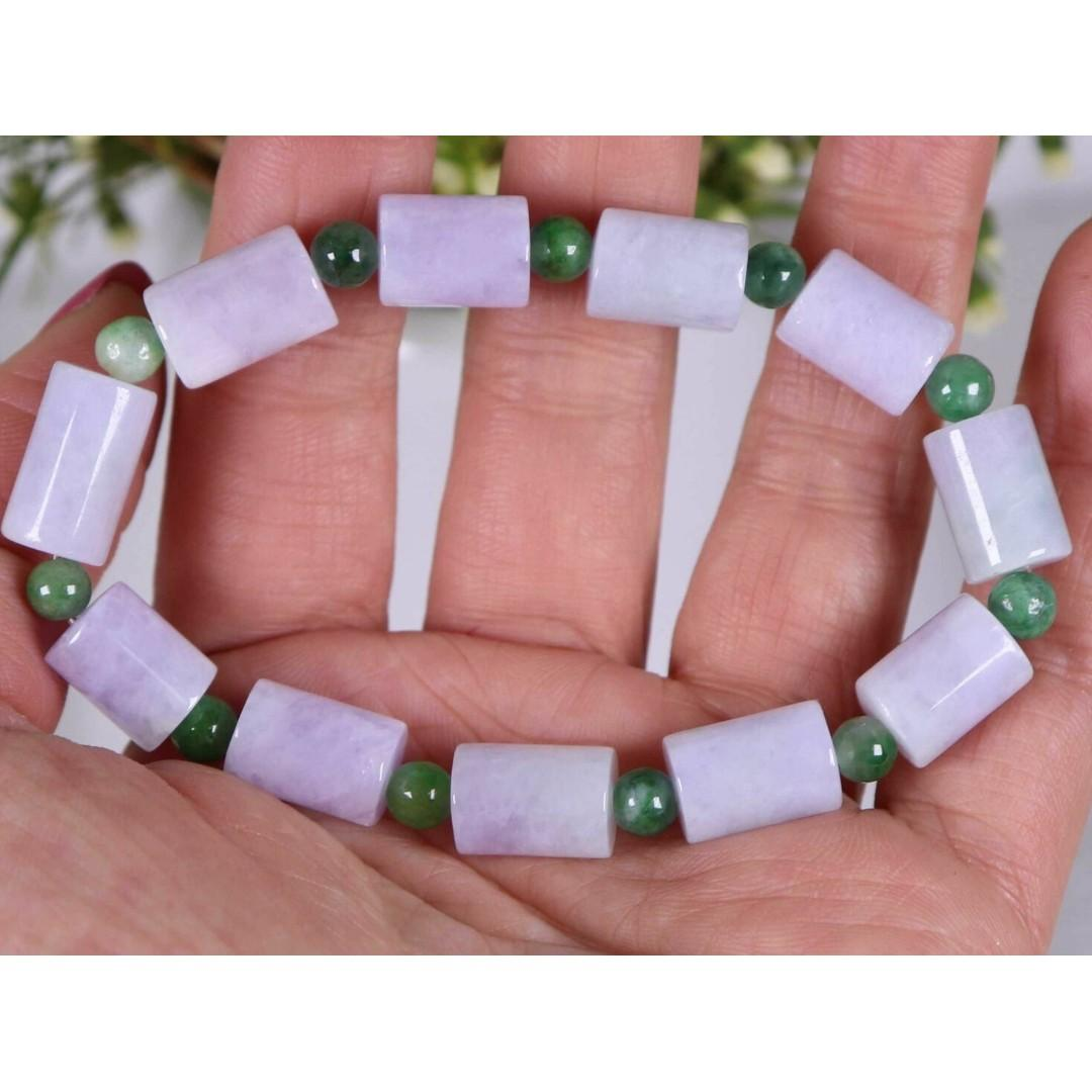 Certified Lavender&Green 100% Natural A jadeite 148.5mm Bead Bracelet 72235N