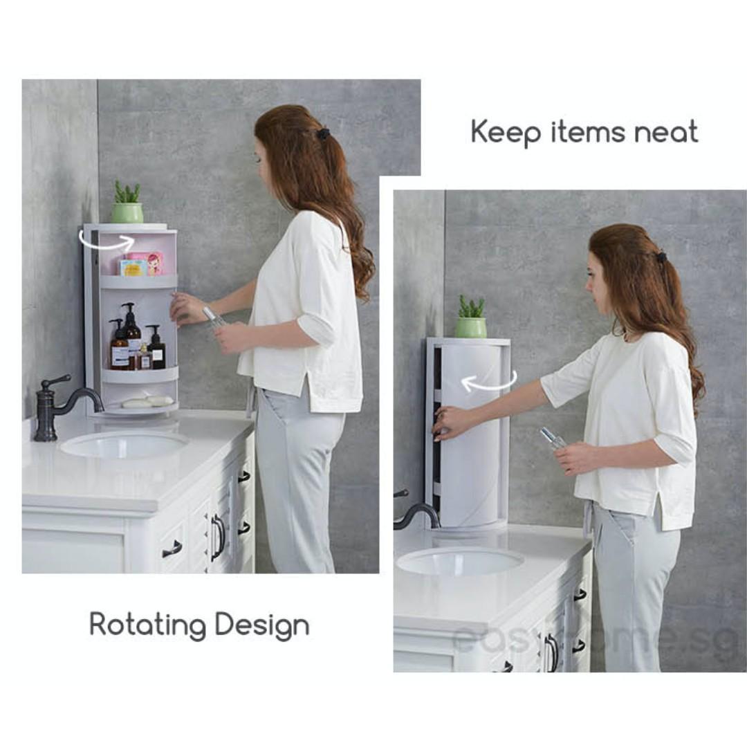 Corner Storage Cabinet 816 / Bathroom Toiletry Makeup Rack Toilet Kitchen Shelves