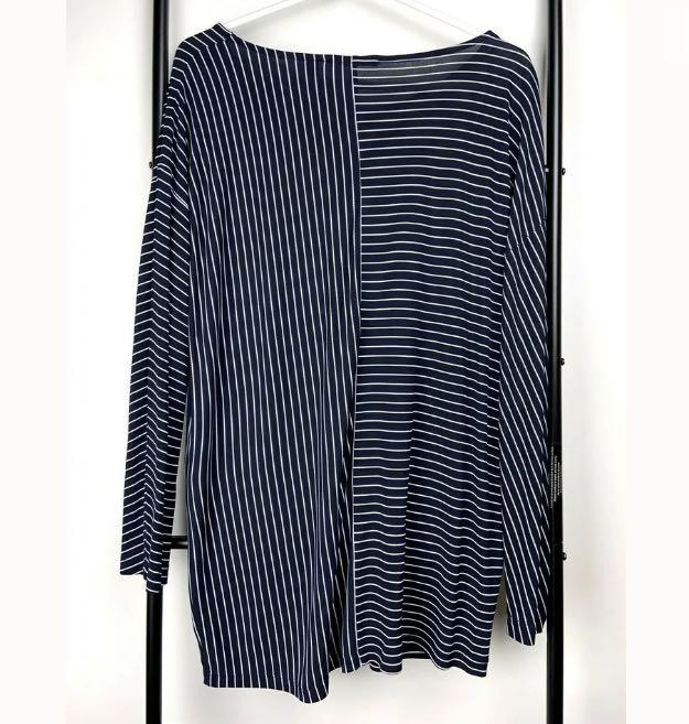 Country Road sz XL navy white stripe top shirt blouse jumper smart casual basic