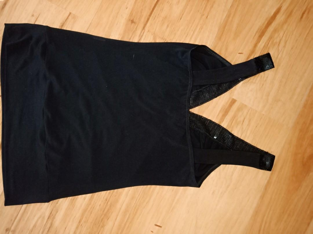 Forcast Black Sequin Ruched Cami/Singlet Top Size S