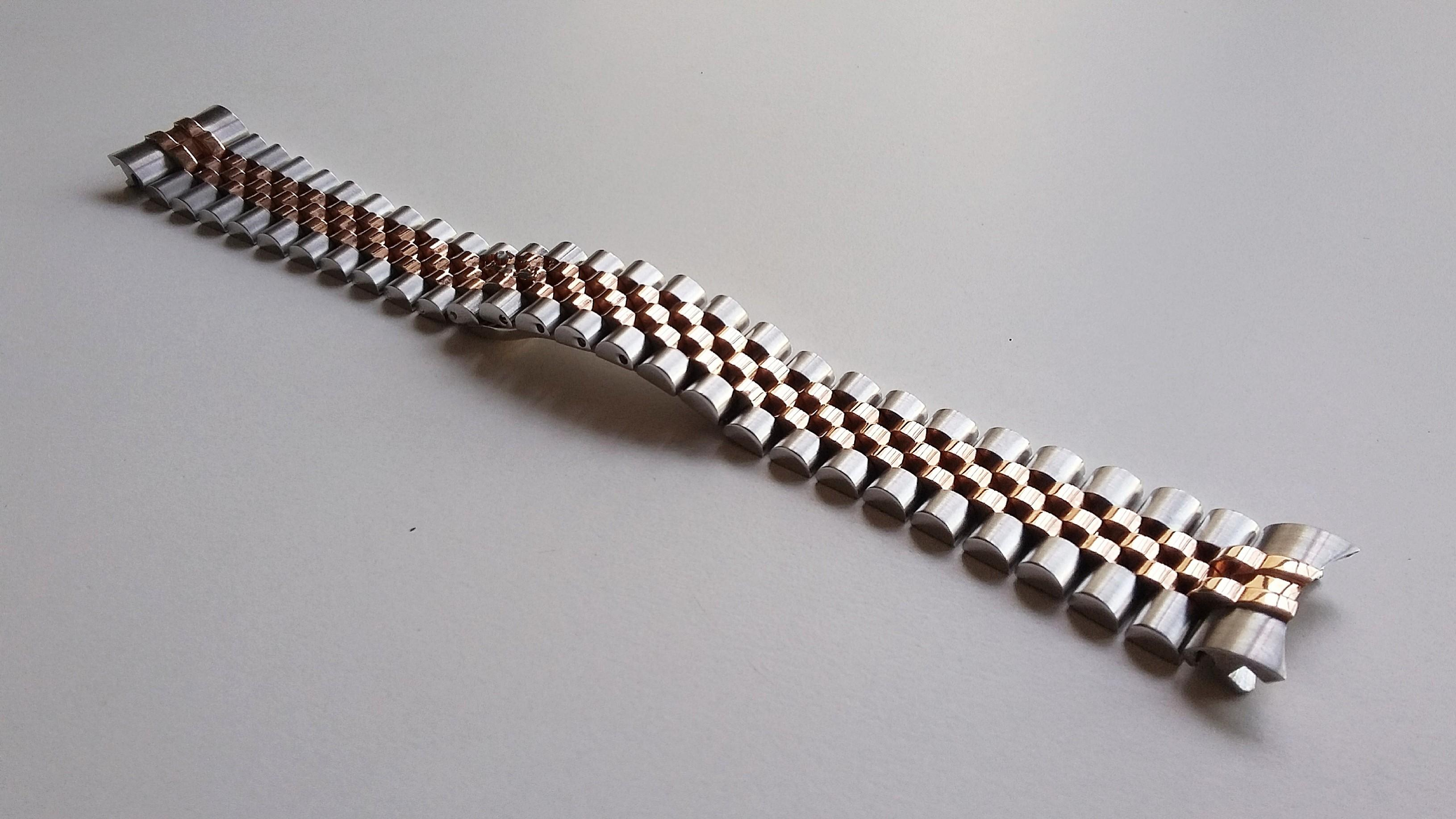 20mm HALF ROSE GOLD PLATED 316L STEEL JUBILEE WITH HIDDEN