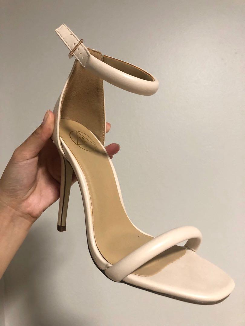 Misguided Faux Leather Nude/Blush Strap Heels Size US 6