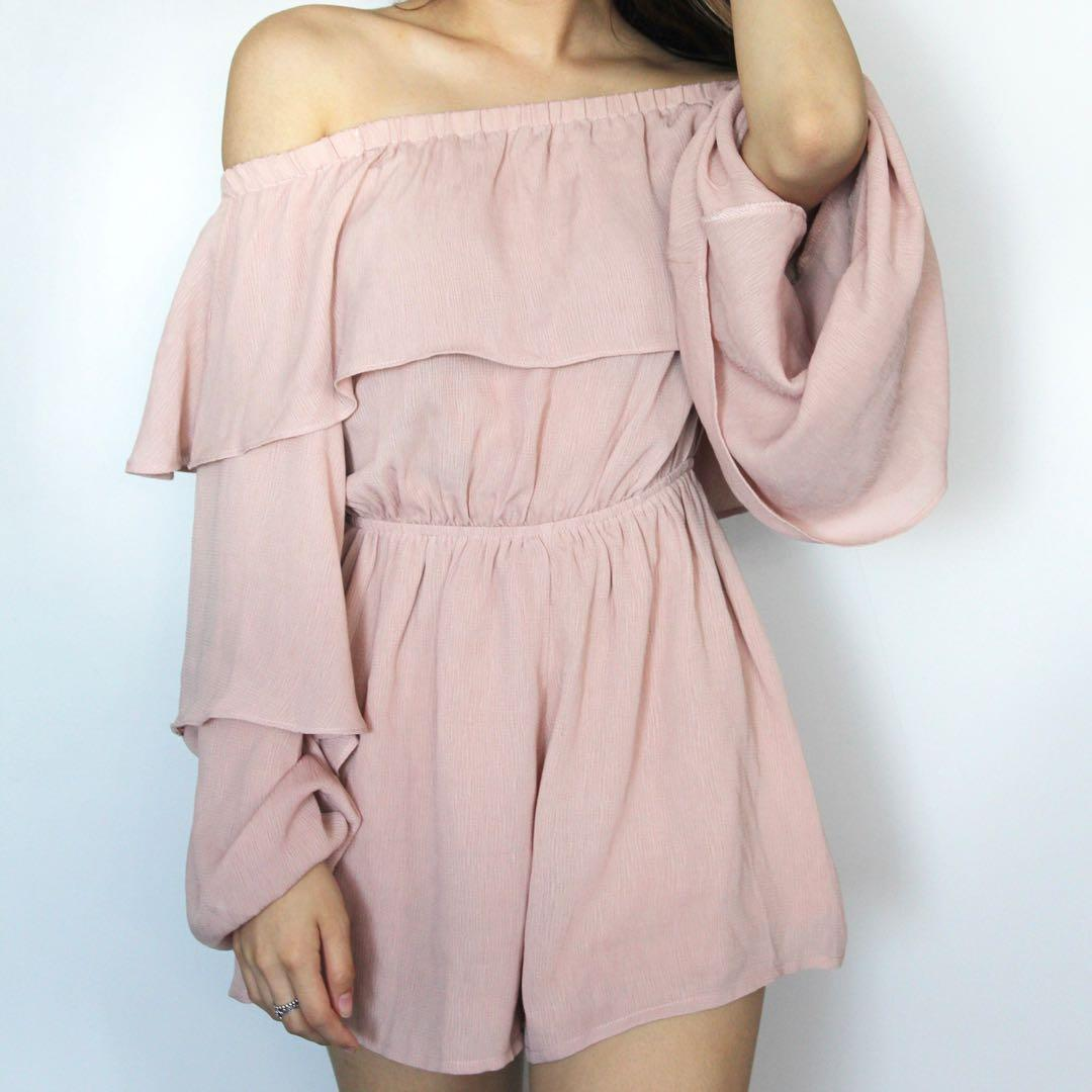 Misguided Pink Off the Shoulder Ruffle Romper Size 0