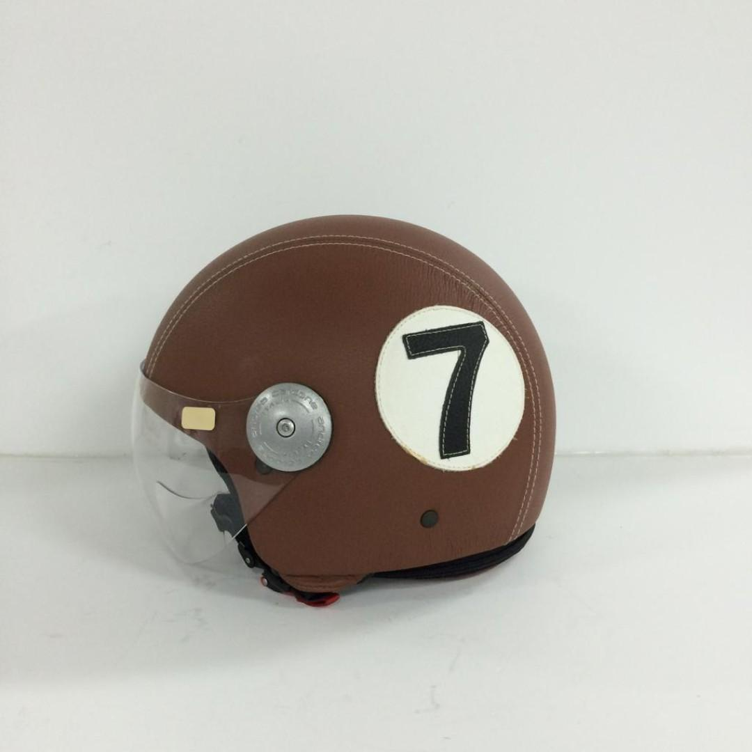 MOTOR-CYCLE GENUINE LEATHER HELMET WITH CLOTH BAG.  MADE IN ITALY.