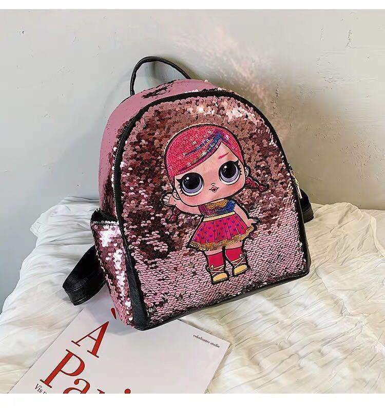 New- kids girls gold/pink LOL surprise dolls unicorn backpack bag colourful sequins cute popular stylish bling bling birthday gift