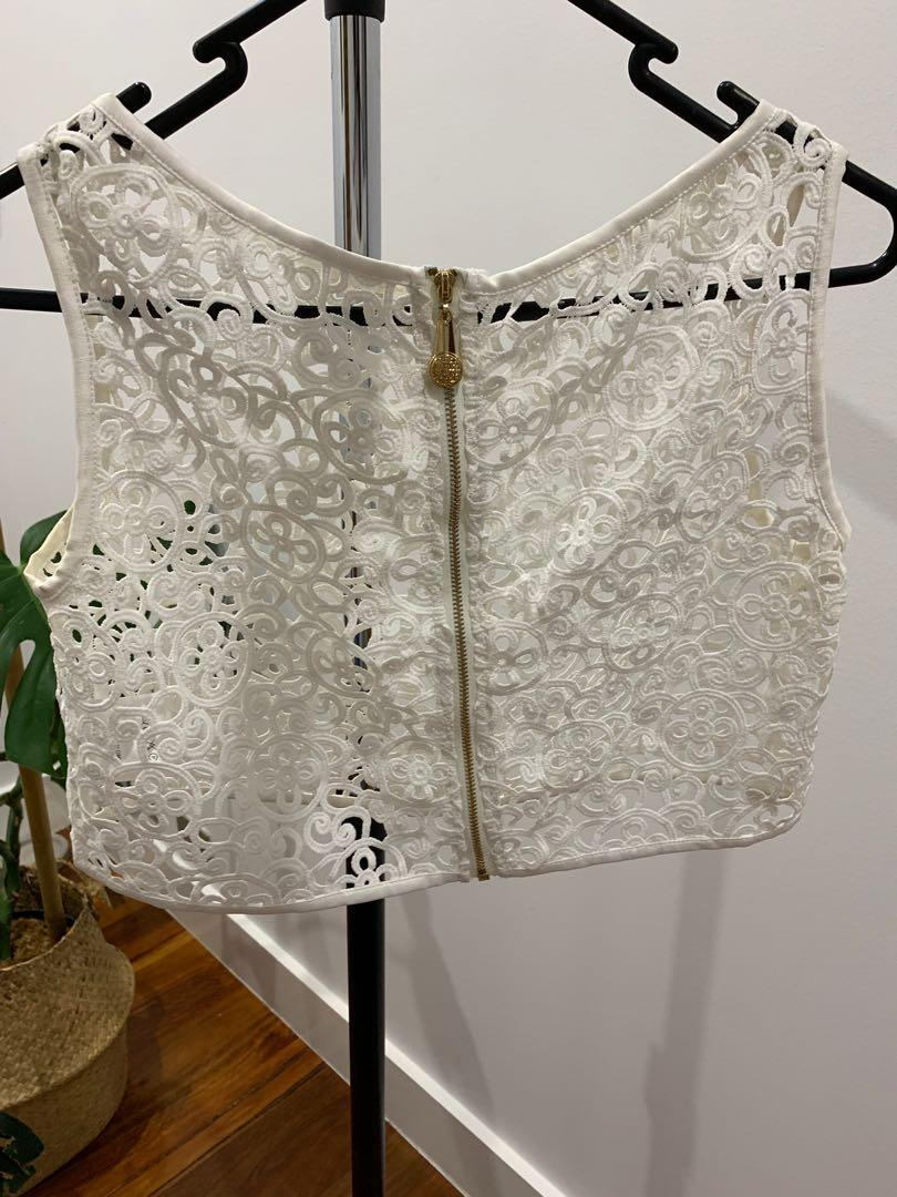 On Trend white misha crop size 8 boho chic Australia label lace blouse singlet