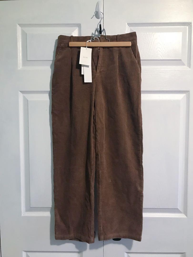 Oversized straight leg pants winter by FFAN/ caramel brown/ Size M