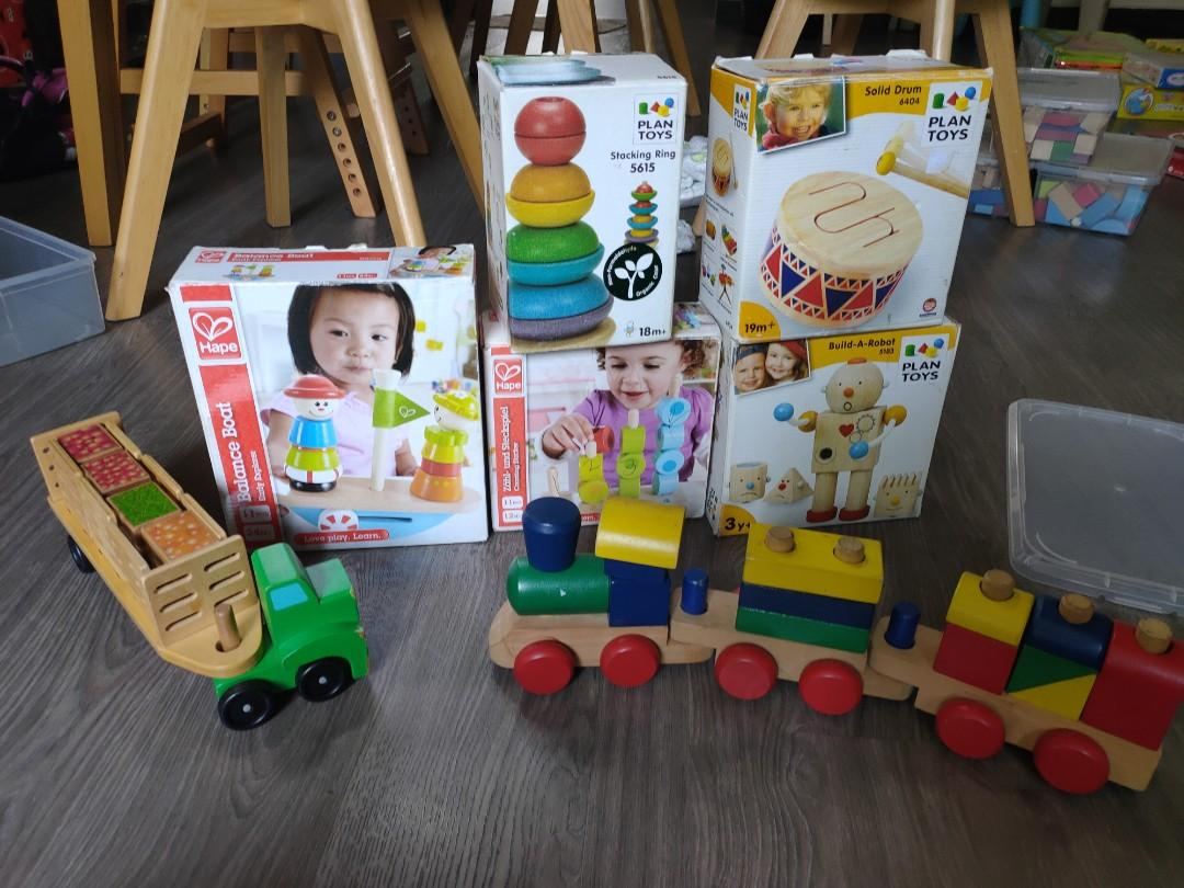 preloved plan toy and m&d wooden toys, babies & kids, toys