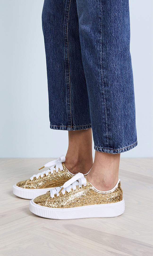 Puma Basket Platform Glitter Sneaker Gold