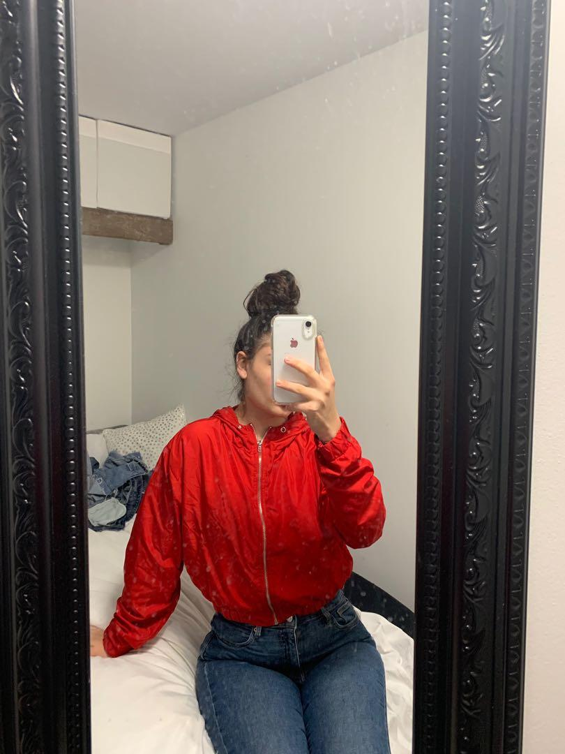 Red Cropped Windbreaker (Forever 21)