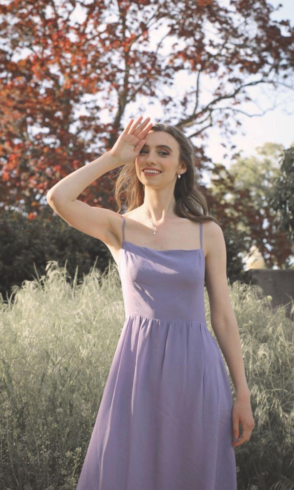 Reformation styled long summer dress by Pinkpink / lavender purple colour / Size M
