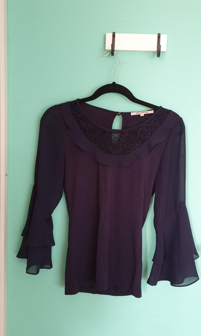 Review Longsleeve Navy Top with Lace detail collar